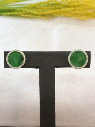 round green jade earrings
