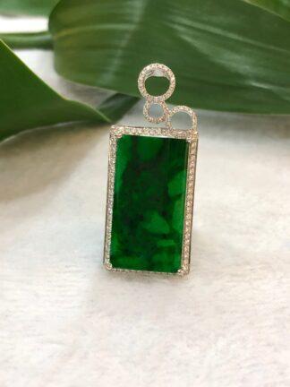 Green rectangular jade pendant