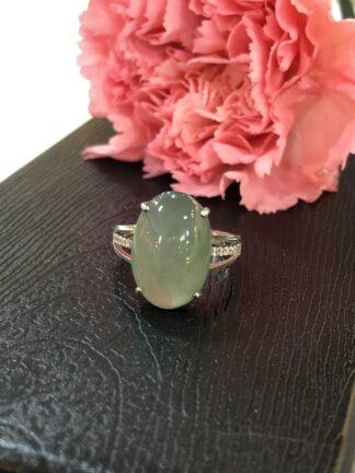 icy green jade cabochon ring