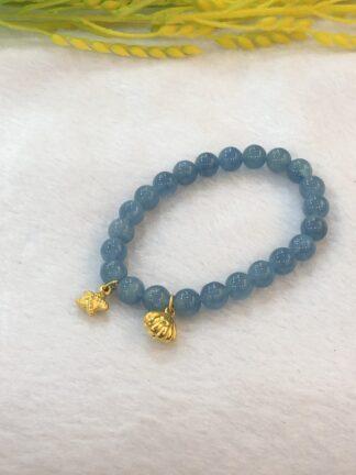 pure gold aquamarine bracelet