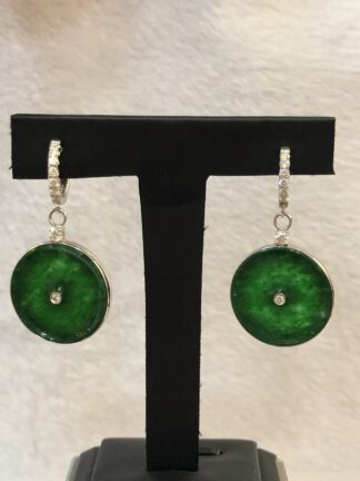 vivid green jade safety coin earrings