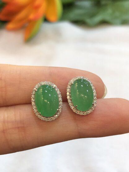 green jade cabochon earrings