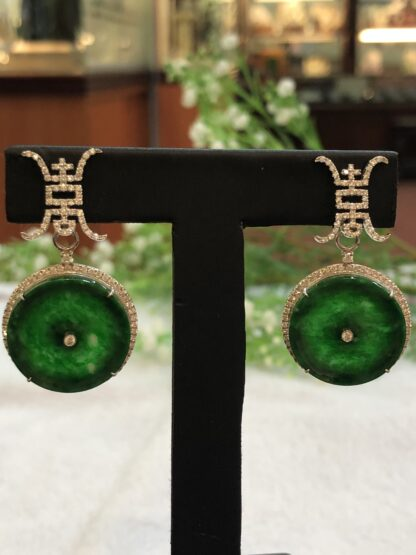 green jade safety coins earrings