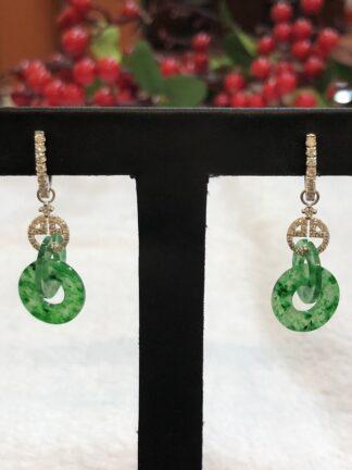 green jade double loops earrings