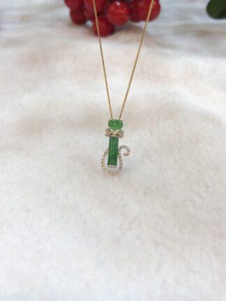 green jade cat pendant