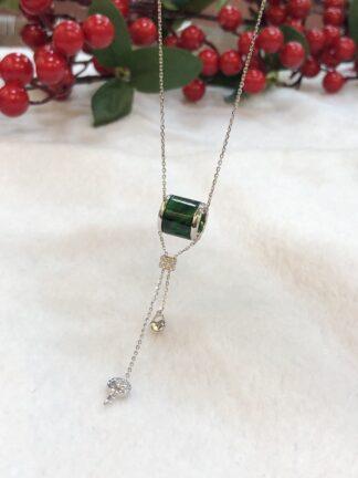 green jade barrel necklace
