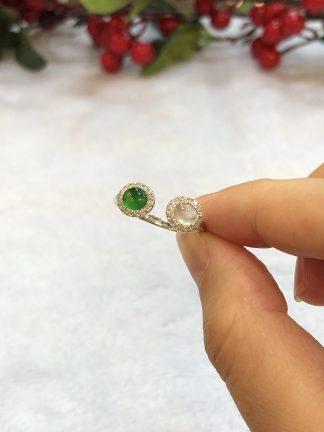 green and icy jade cabochons ring