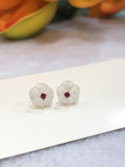 icy jade flowers earrings