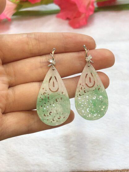 green carved jade earrings