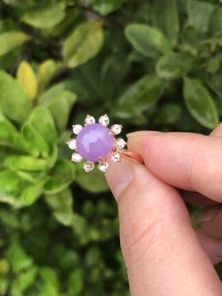 vivid lavender jade ring