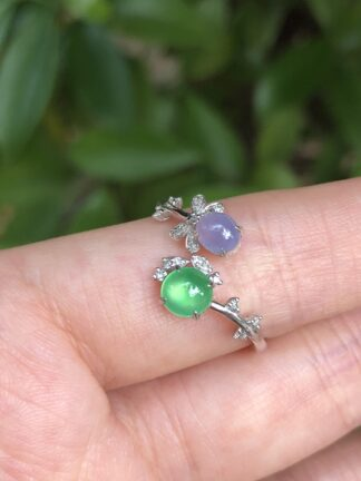 green and lavender jade ring