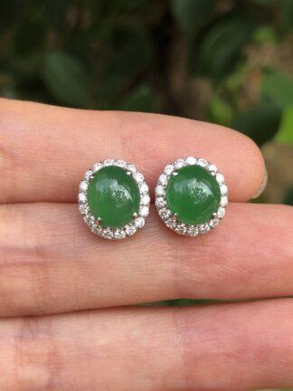 imperial green jade cabochons earrings