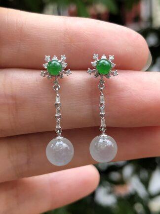 icy and green jade earrings