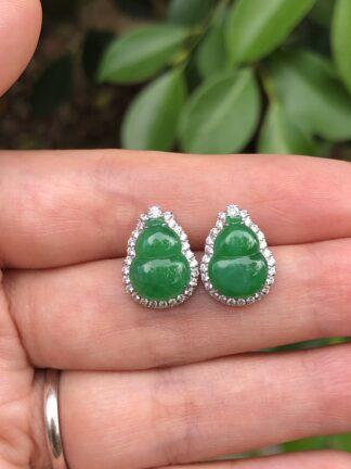 green jade gourd earrings